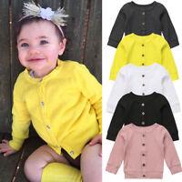 USA Newborn Kid Baby Girl Long Sleeves Knitted Kid Sweater Cardigan Coat Tops