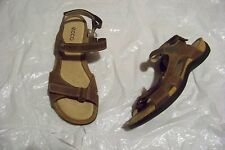womens ecco brown leather strappy sandals shoes size 40