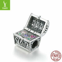 European 925 Sterling Silver Treasure Chest  Zircon Charm Bead Jewelry For Women
