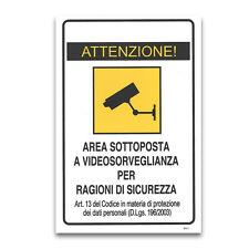 Cartello segnaletica videosorveglianza PVC da 3 mm 14,5x19,5 cm 5 PEZZI