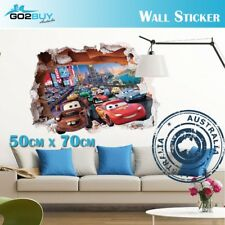 3D Wall Stickers Removable Racing Car Disney McQueen Broken Wall Kids Room Decal