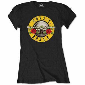 Guns N' Rosen Damen Figurbetont T-Shirt Offiziell Klassiker Slash Axl Premium
