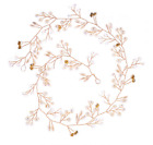 "59"" Long Wedding Hair Vine Pearl Headband Bridal Accessories Gold Color"