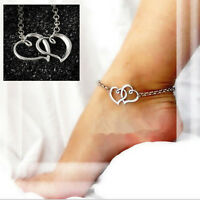 Sexy Women Jewelry Double Heart Chain Beach Sandal Anklet Ankle Bracelet RS