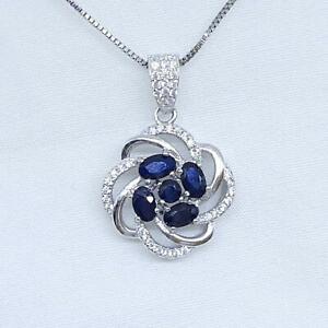 1.20ctw Kanchanaburi Sapphire & Diamond Cut White Sapphire 925 Silver Pendant