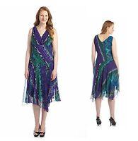 Plus Size Purple Chiffon Batik Print Dress Surplice V-Neck Shark-Bite Hem 20W