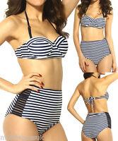 Ladies Striped Beach High Waisted Bikini Vintage Padded Swimwear Swimsuit Sexy
