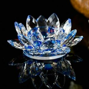 Lotus Flower Crystal Glass Candle Holder Tealight Candlestick Home Decoration