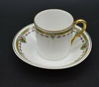 Langenthal Swiss Greek Key Pink Roses & Gold Demitasse Cup & Saucer Set