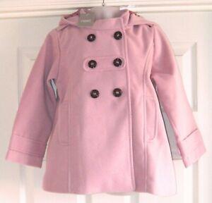 BNWT NEXT GIRLS PINK SMART WINTER DRESS COAT 5-6 YRS NEW PARTY JACKET TOP HOODY