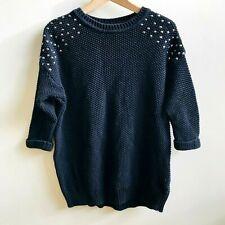 TOPSHOP Blk Chunky Waffle Knit Oversized Jumper Sweater Studded Size 8