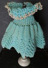 SWEET! SEA Green  antique hand CROCHETED Wool DOLL Dress Silver METALLIC Trim