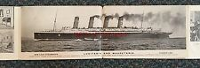 VERY RARE Cunard LUSITANIA & MAURETANIA 8-Panel 1907 Fold-Out Postcard