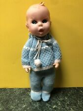 Adorable Vintage GERBER BABY Doll FLIRTY EYES Hand Crocheted Blue Outfit Mint!