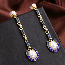 Costume Fashion Earrings Studs Long Fine Pearl Drop Streader Blue Vintage B3