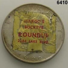 MARGOS BUCKEYE ROUND-UP SILVER DOLLAR 1922 PEACE STICKERED! #6410