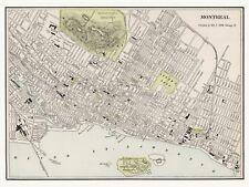 Old Antique Decorative Map of Montreal Canada Cram ca. 1901