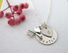 BESTIE Best Friend Gift Personalised Necklace Bird Heart & Initial