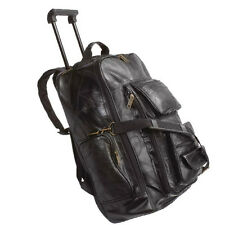 Black Genuine Leather 19 in. Backpack Rolling Trolley Wheeled Cart Carry On Mens