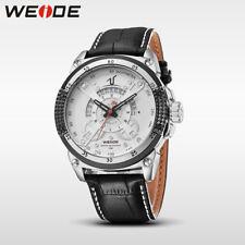 WEIDE Sport Quartz Watch Men Analog Calendar Date Leather Strap Band