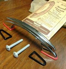 Vintage NOS Heavy Chrome Drawer Cabinet Pull Handle w/ Red & Black Bases Amerock