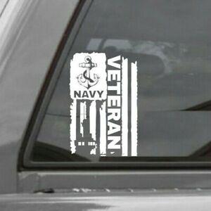 DISTRESSED UNITED STATES NAVY FLAG VETERAN VINYL DECAL STICKER U.S. NAVY