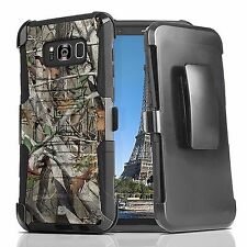For Galaxy S8+ Plus Hybrid Defender Case Armor Impact Holster Clip CAMO Hunter