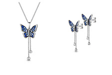 White Gold Butterfly Pendant and Earrings Set Sapphire and Diamond Certificate