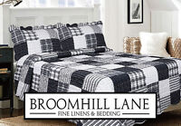 New! Modern White Grey Black Patchwork Quilted Bedspread Throw Checked Striped