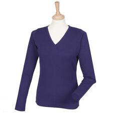 Henbury Women's V-Neck 12 Gauge Pullover Jumper Smart Work Business Sweater New