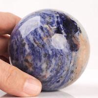 459g 69mm Large Natural Blue Sodalite Crystal Sphere Healing Ball Chakra