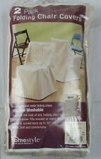 Homestyle 2 Pack Satin Stripe Stone Color Folding Chair Covers S195