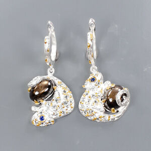 One of a kind SET Black Star Sapphire Earrings Silver 925 Sterling   /E57907