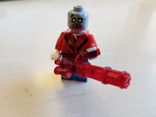 Brickarms Minigun Trans -Red with Brass/Gold Crate with Lid for Lego Minifigures