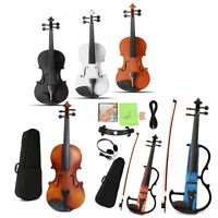 Full Size 4/4 Natural Acoustic Electric Violin Fiddle w/ Case Bow Right or Left