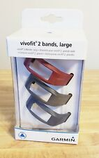 Garmin vίvofit 2 Bands, Large Wrist Bands - 3pk Burgundy/Slate/Navy - New In Box