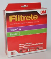 3 FILTRETE 3M VACUUM BAGS HOOVER A BISSELL 2 MICRO ALLERGEN CONCEPT SOFT BODY
