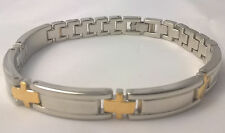 G-Filled Men's 18kt white and yellow gold two tone bracelet Gents cross 7 inch