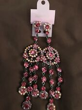 Heavy Pink long fashion earring on silver backing