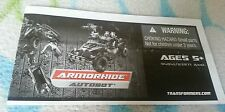 Transformers ROTF ARMORHIDE INSTRUCTION BOOKLET ONLY