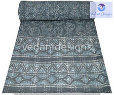 Indian Block Queen Kantha Handmade Quilt Cotton Bed Cover Throw