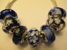 7 Pandora Silver 925 Ale Dark Blue Shimmer Star Flower Snowflake CZ Beads Charm