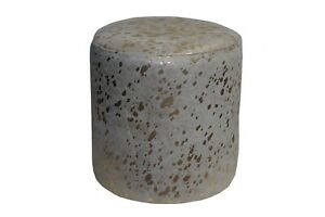 Cowhide Pouf Ottoman Round Color Gold Splashed on White, TOP Quality