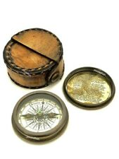 Robert Frost Poem Compass-Pocket Compass w Leather Case