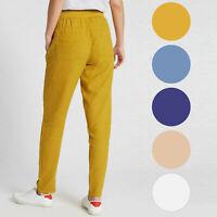 Ex M&S Straight Leg Linen Rich Trousers Elasticated Waist Various Colours - 2
