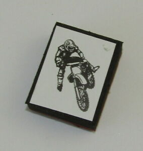 """Motorcycle Rider Rubber Stamp Jump Foam Mounted 1.5"""" High"""
