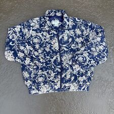 Bogari Silk Bomber Jacket Women Small Blue All Over Floral Print Lightweight