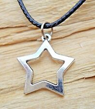 Star Cutout Silver Effect Charm Pendant & Black Waxed Cord Necklace NEW