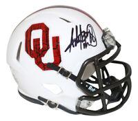 Adrian Peterson Autographed Oklahoma Sooners Wood Mini Helmet BAS 26637