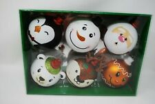 "(6) CG Hunter Glitter Christmas Ornament 4"" Penguin Snowman Gingerbread Santa"